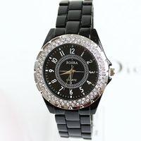 2013 New Hot White Fashion Partysu Watches New Brands Imitation Ceramics Rhinestone Bracelet Chain Round Watches Free Shipping