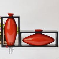 Fashion fashion wood-framed vase personality flower receptacle modern home furnishings decoration