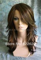 Brown with Auburn Tones highlights Long Layered Tarah Nirvana wig  kanekalon Fiber hair Brazilian Style Wigs shipping Free