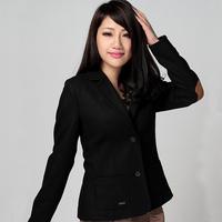 2014 spring outerwear women's black short design slim suit single breasted thick woolen blazer