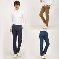 [J.C]New 2014 Men Skinny Cotton Trousers  Slim Fit Tatical Pants Chinos Casual  Khaki/Royal Blue British Style Pantalones