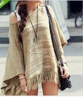 The wind hollow shawl tassels circular Cape collar bat sleeve knit shirt