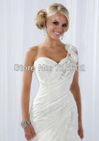 Free shipping shoulder to tail cross and flower decoration halter sweetheart neck wedding dress Style No. 120206003