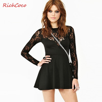 Free shipping 2014 hot street fashion sexy lace patchwork slim high waist o-neck long-sleeve dress