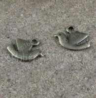 100pcs/lot Zinc alloy bead Antique Bronze Plated 15*12MM peace dove Pendants Fit Jewelry Making DIY JHA2977