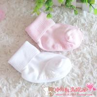 Child infant baby socks relent spring and autumn white pink unisex cotton kid's socks baby socks