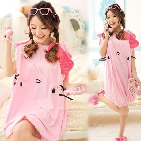 Summer lady Hello Kitty gown, short sleeved cotton, girls, cute cartoon, 100% cotton KT cat nightdress(China (Mainland))