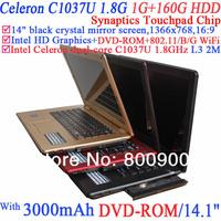 14.1-inch Notebook with DVD-ROM black crystal mirror screen 1366x768 16:9 Celeron C1037U 1.8Ghz Ivy Bridge 22nm 1G RAM 160G HDD