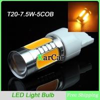 2PCS/Lot 7.5W T20 WY21W LED Turn Signal Light Yellow, 5 COB Chip with Lens 7440 Car LED Light Reverse Lights