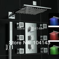 "Latest Good Quality 12"" LED Shower Head Luxury Rainfall Chrome Shower Set With Valve Tap 50027C/2"