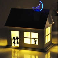 Romantic night light on a small wooden collecting sunlight light-controlled LED energy-saving girl wife special birthday gift