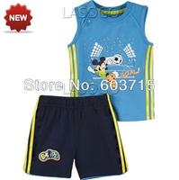 Retail drop shipping Children boys summer 100% cotton sleeveless sport suit two pcs set children clothing set foot ball