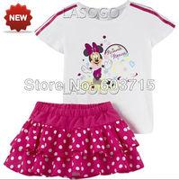 Retail 2014 New arrive Fashion Children girls summer cotton t-shirt+ dot skirt brand AD sport suit two pcs set girls100% cotton