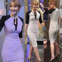 Top Fashion Women Elegant V-Neck Knee Length Vintage Slim Bodycon Pencil Cocktail Party Dress 2014 Spring Slim Bandage Work Wear