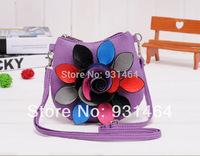 2014 New Arrival PU Leather Women's Handbag Colorful Flower Design Shoulder Bag Messenger Cross Body Bag Purse Bolsas MIni bag