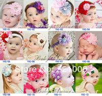Chic Chiffon Lace with Rhinestone Flower Headband for Baby Girl Elastic Headband Newborn Infant Photo Prop 12pcs Free
