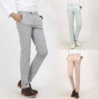 [J.C]New Spring 2014 HOT Men's Slim Straight Elasticity Fashion Trousers Leisure Pants Solid Pink/Cyan-blue/Gray Pantalones