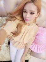 8277 2014 spring short-sleeve slim waist strapless pink sexy beading top chiffon shirt women
