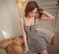 8235 2014 spring zipper sexy gauze houndstooth vest one-piece dress