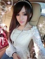 8757 2014 slit neckline lace top lace long-sleeve shirt female t-shirt