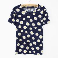 [Magic] Beautiful chrysanthemum flowers printing women short sleeve t shirt new style summer t-shirt 3 color free shipping