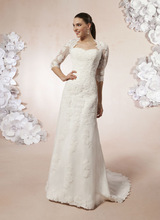 queen anne neckline wedding dress promotion