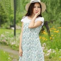 Maternity printed new spring 2014 summer short sleeve loose brand pregnant women cotton dress M-XL D0298