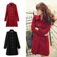 New 2014 Slim Double Breasted Turn-down Collar Long-sleeved Woolen Coat For Women,Winter Outerwear Women's Clothing