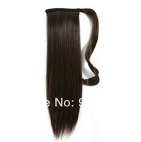 Clip in natural black straight brazilian virgin  hair wrap around drawstring  ponytails 108g