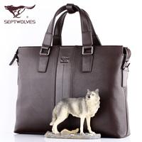 Septwolves man bag briefcase handbag male genuine leather first layer of cowhide messenger bag shoulder bag commercial
