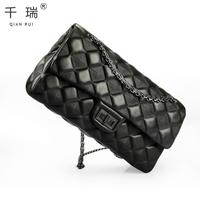 Genuine leather women's handbag sheepskin plaid bag chain bag the trend of fashion women's handbag small handbag messenger bag