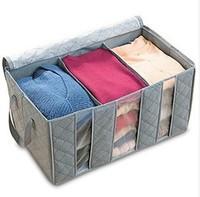 1PC Bamboo Charcoal Folding Clothin Clothes Blanket Closet Organizer Storage Bag Box