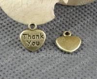 100 pcs/lot Zinc alloy bead Antique Bronze Plated 12*11MM Love-Thank you Charms Pendants Fit Jewelry Making DIY JJA2578