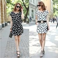 2014 spring and summer women's gentlewomen fashion short-sleeve chiffon elegant casual one-piece dress