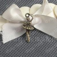 100pcs/lot Zinc alloy bead Antique Bronze Plated 26*10MM Ballet girl Charm Pendants Fit Jewelry Making DIY JHA1611