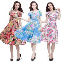 2014 puff sleeve one-piece dress bohemia artificial cotton short-sleeve o-neck medium-long one-piece dress