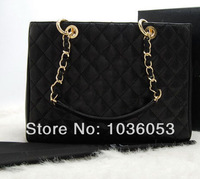 Top Quality, GST Grand Shopping Tote, Classic Quilted Gold,Silver Chain handbag, 34cm Black/Red Import Caviar Leather Bag cc 04