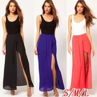 new 2014 spring summer sexy long skirt Women Open Side Ladies boho Chiffon skirts Long beach maxi skirt black white jupe women