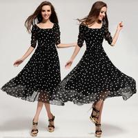 New 2014 Spring Dress Polka Dot Chiffon Ball Gown Mid-Long Dress Women Autumn Clothing Dress S,M,L