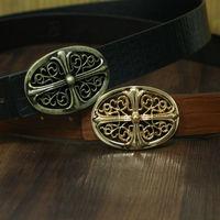 Vintage belt Fashion brand belt 100% Genuine leather smooth buckle Thickening belts for men's & women's 105-125cm