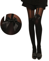 Free Shipping Sexy Women Thin Transparent Women Tights Bow Accessories Pantyhose Stocking