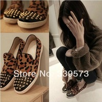 2014 fashion spring and summer fashion new arrival single shoes women's shoes leopard print horsehair rivet flats women shoes
