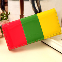2014 New Women's Medium-Long Wallet Bag Candy Patent Leather Wallet Color Block Decoration Card Holder Coin Purse Key Day Clutch