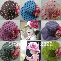 3 pcs / lot New Arrival Free Shipping doomagic baby girls summer hats / baby flower sun hat/girls beach cap