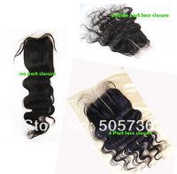 "4X4""  virgin peruvian Body Wave 3 Way Part Lace Closure Hair Top Closure Free shipping"
