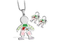 Free Ship! Fashion Sweet unisex gifts jewelry set Stainless Steel Little baby boy Pendant&earring,GOOD GIFT