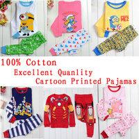 2014 New Baby Wear Children's Peppa pig Pajamas 100% Cotton Girls Boys minion Pyjamas Long Sleeve Clothing set Kids Sleepwears