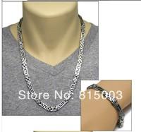 "Free Shipping Fashion Jewellery 1 Set of 316L Stainless Steel Men's Flat Byzantine Chain & Bracelet Set 23.6"""