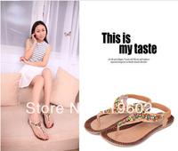 Free shipping !!!2013 flat sandals fashion trend sandals bohemia national flat heel beaded female shoes