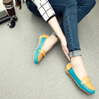 Metal buckle velvet patchwork round toe flat-bottomed single shoes